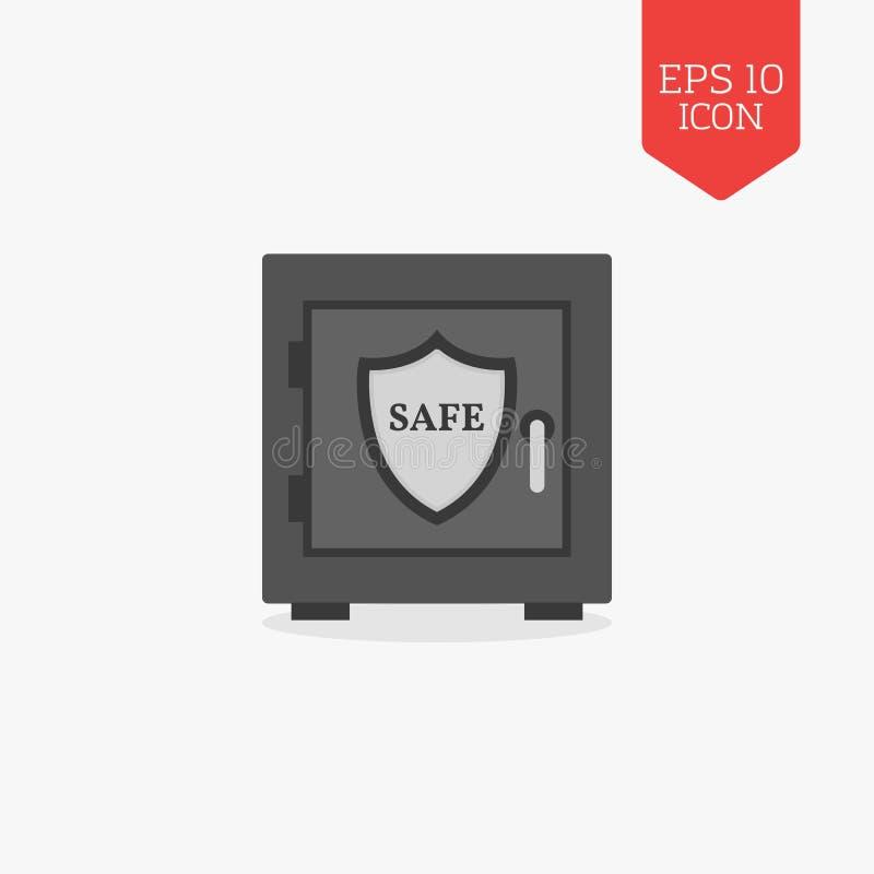 Coffre-fort avec l'icône de bouclier Sécurité, concept de protection Conception plate illustration libre de droits