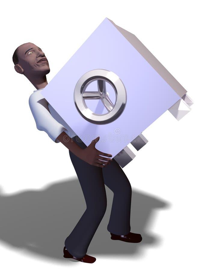 coffre-fort de l'homme 3d illustration stock
