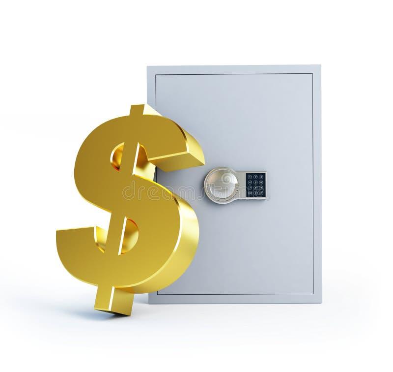 Coffre-fort de symbole du dollar un fond blanc illustration libre de droits