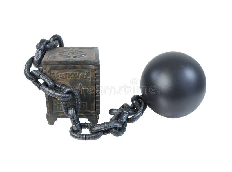 Coffre-fort de vintage fixé par la boule et la chaîne images libres de droits