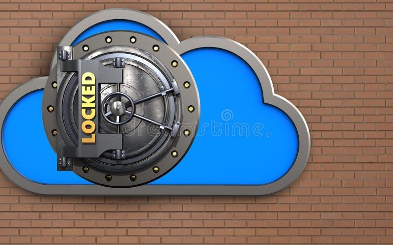 coffre-fort du nuage 3d illustration stock