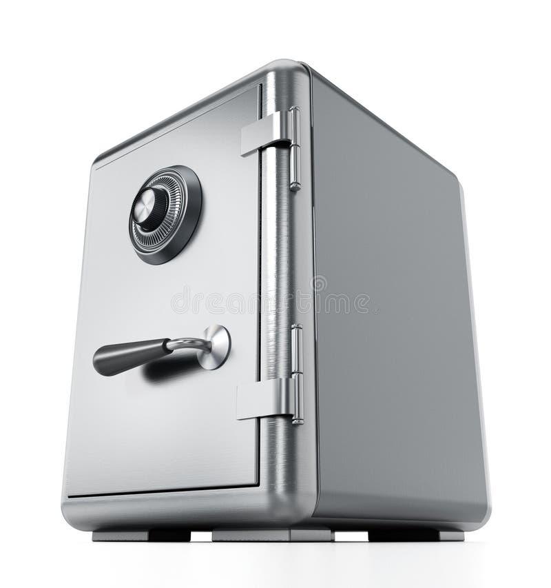 Coffre-fort en acier avec la porte fermée d'isolement sur le fond blanc illustration 3D illustration libre de droits