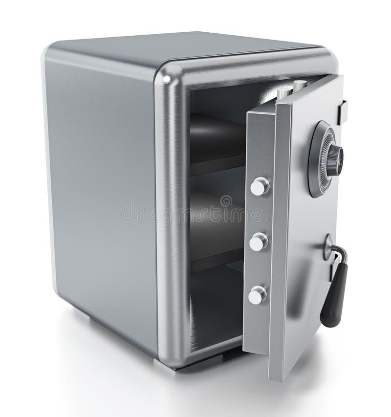 Coffre-fort en acier avec la porte ouverte d'isolement sur le fond blanc illustration 3D illustration de vecteur