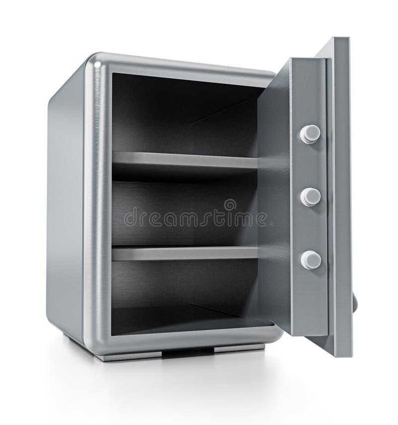 Coffre-fort en acier avec la porte ouverte d'isolement sur le fond blanc illustration 3D illustration stock