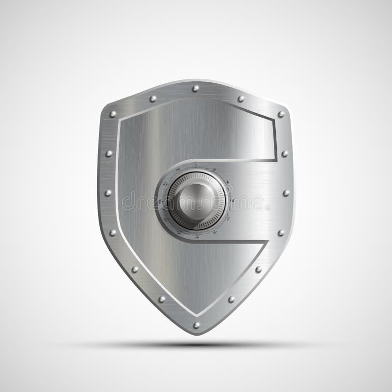 Coffre-fort en métal d'icône sous forme de bouclier Dépôts en banque vec courant illustration de vecteur
