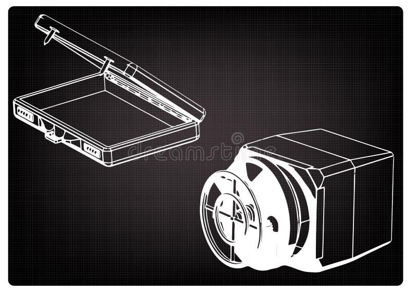 Coffre-fort et cas sur un noir illustration stock