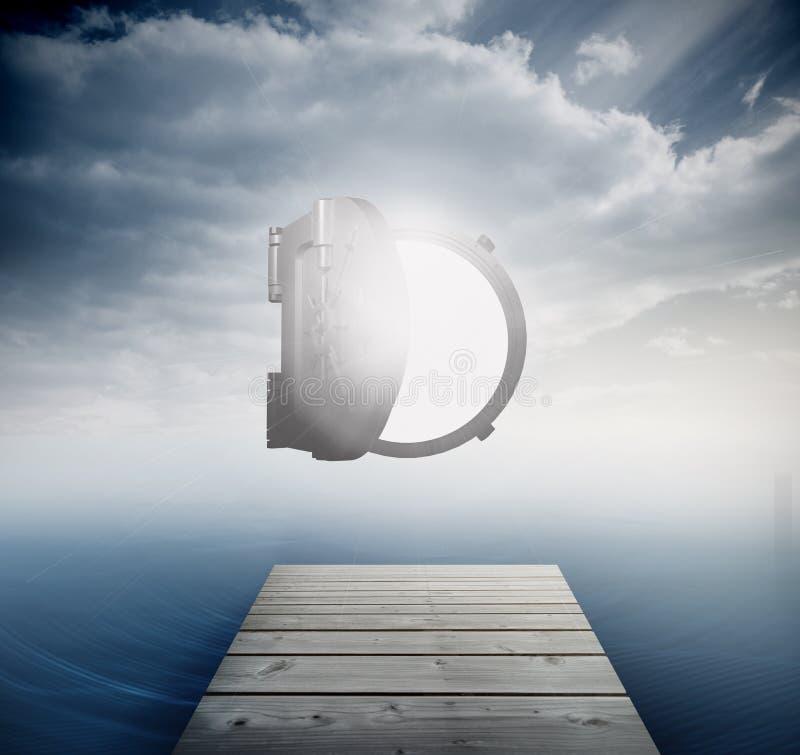 Coffre-fort ouvert brillant en ciel au-dessus d'océan illustration de vecteur