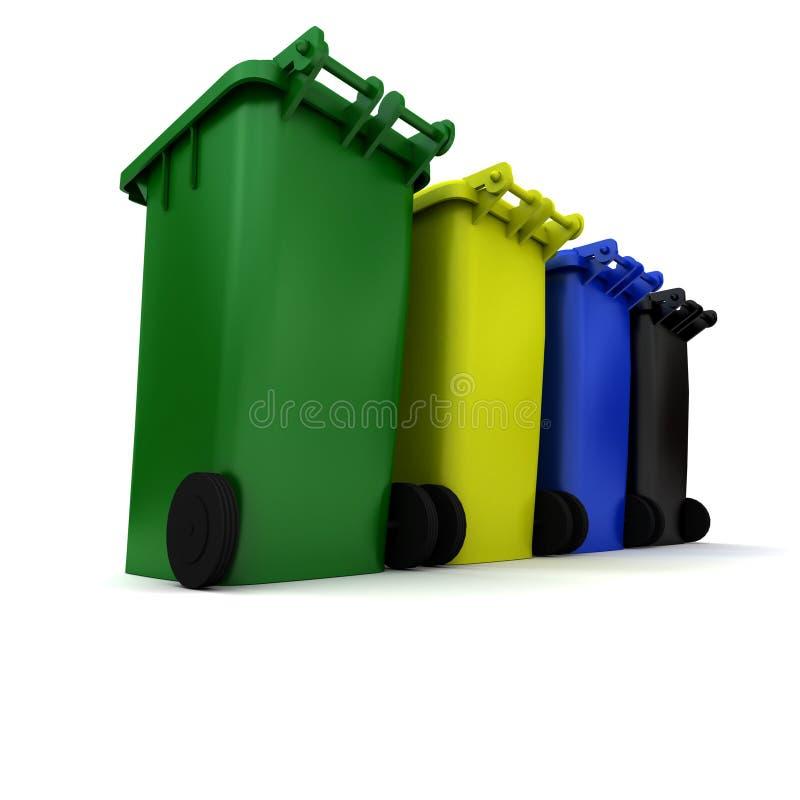Coffres d'ordures illustration de vecteur