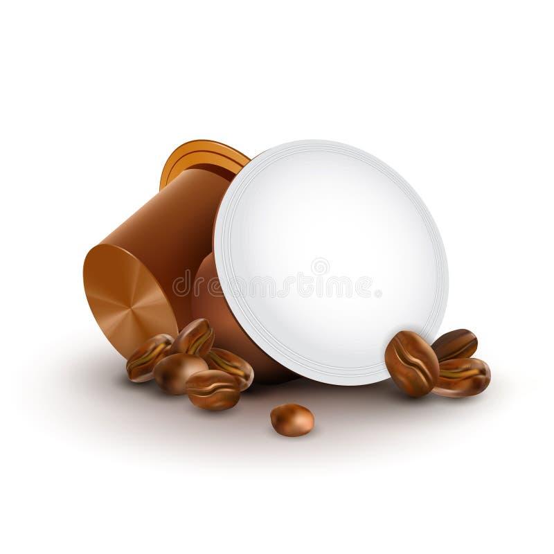 Coffrets pour Espresso Machine Café en capsules avec haricots de café isolés sur fond blanc illustration libre de droits
