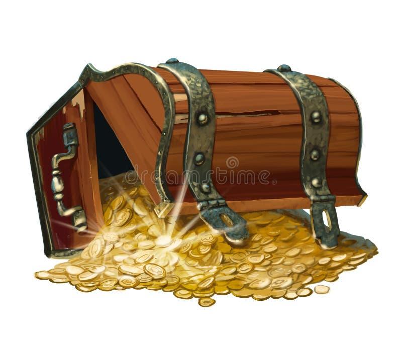 Cofre del tesoro stock de ilustración