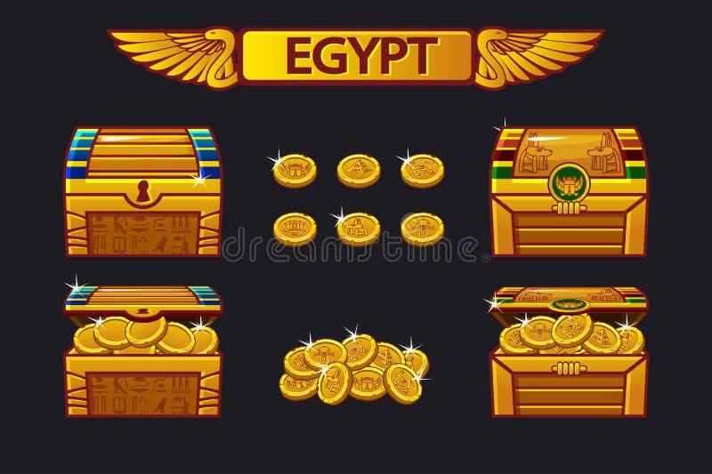 Cofre del tesoro de la antigüedad de Egipto y monedas de oro libre illustration