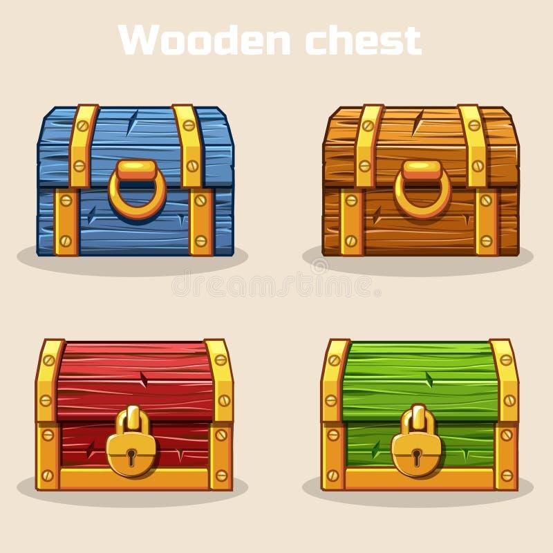 Cofre del tesoro de madera coloreado cerrado libre illustration