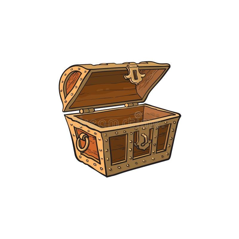 Cofre del tesoro de madera vacío abierto vector ilustración del vector