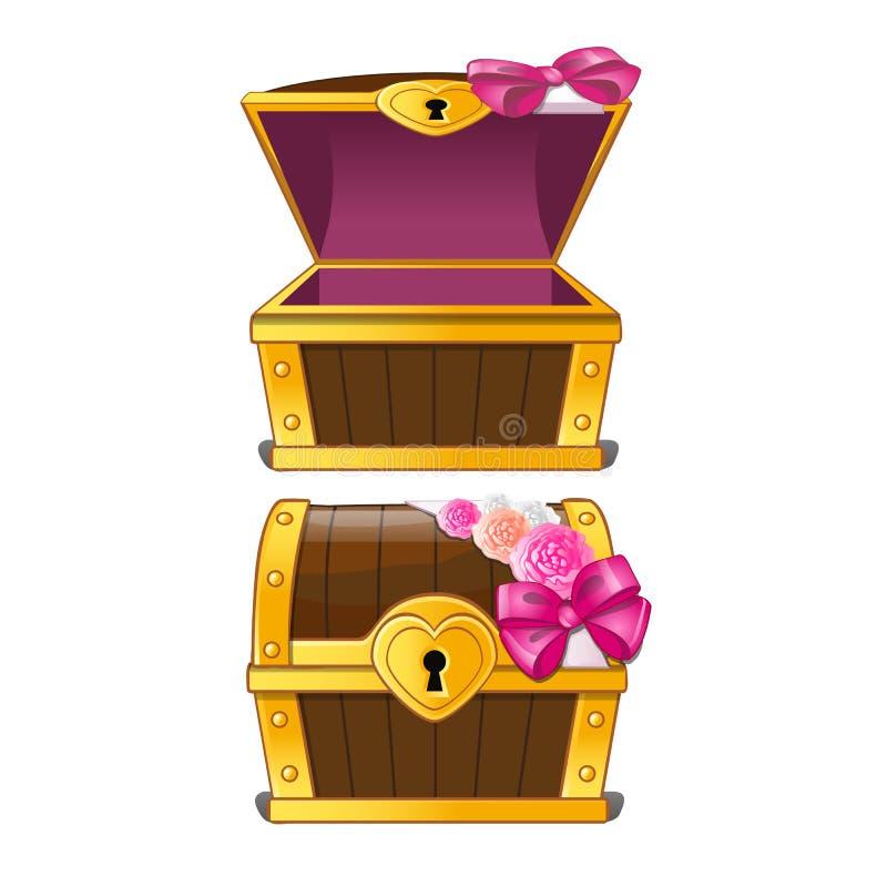 Cofre del tesoro elegante adornado con los brotes de flor Ilustración del vector stock de ilustración