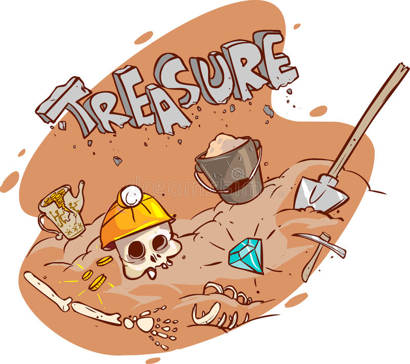 Cofre del tesoro viejo enterrado bajo tierra libre illustration