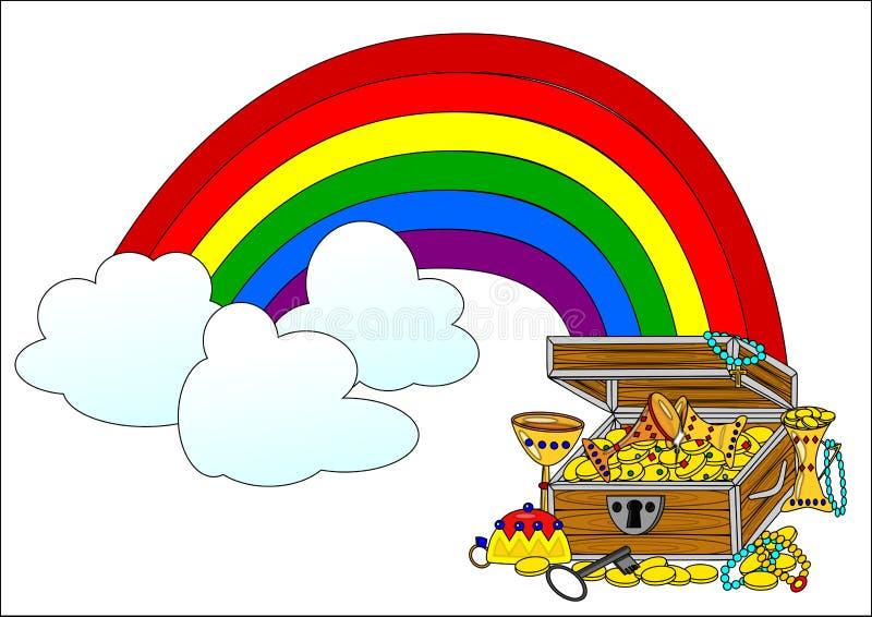 Cofre del tesoro y arco iris grandes ilustración del vector
