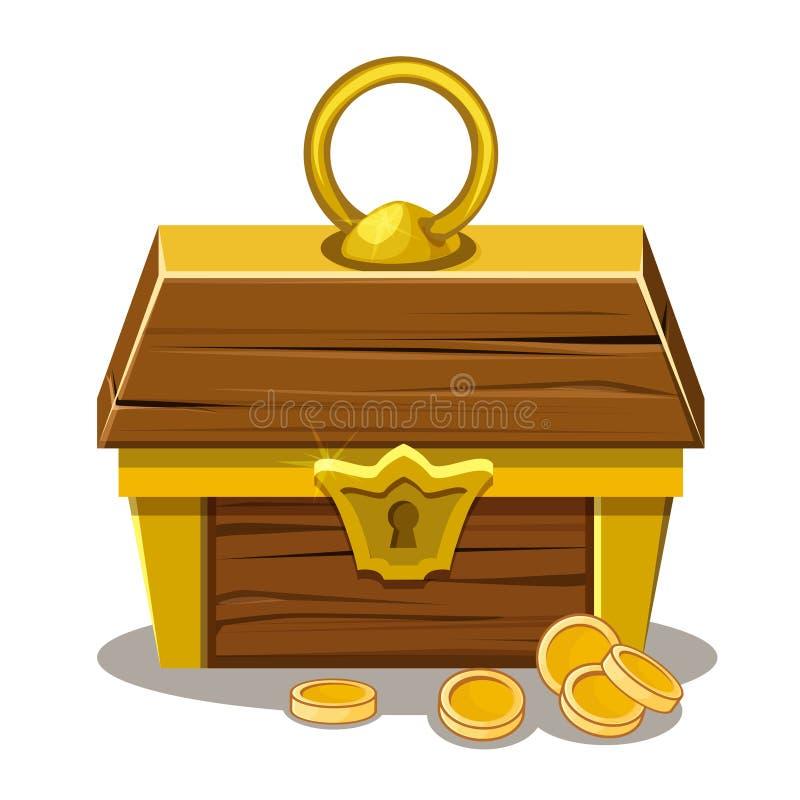 Cofre del tesoro y moneda de madera libre illustration
