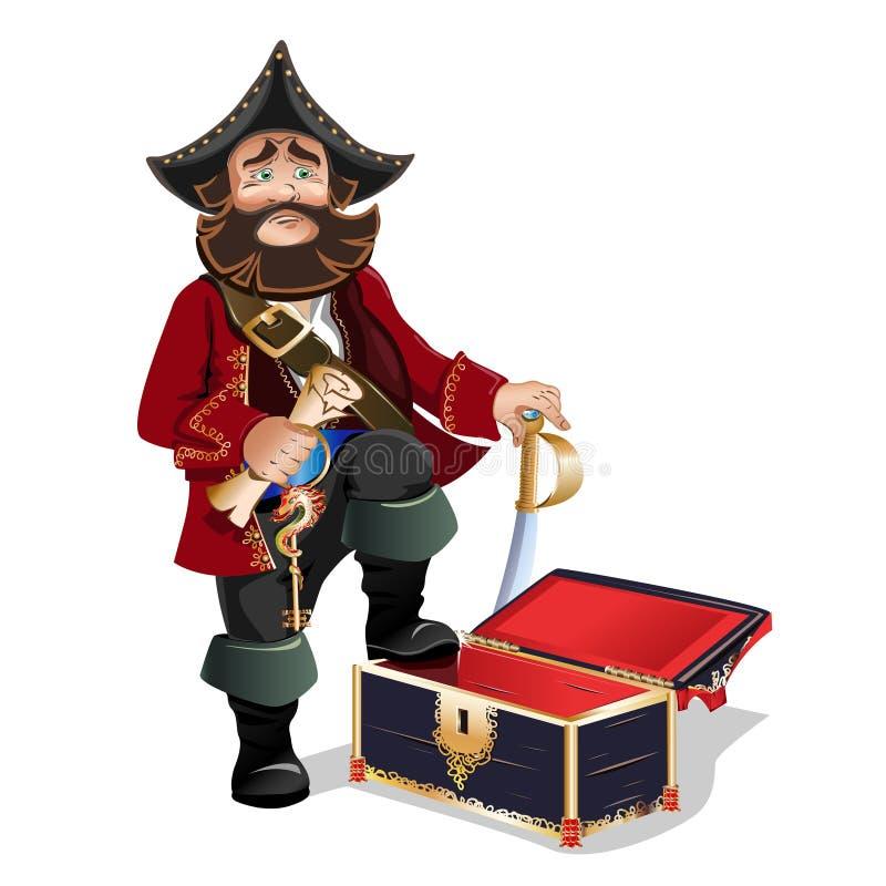 Cofre del tesoro y pirata vacíos libre illustration