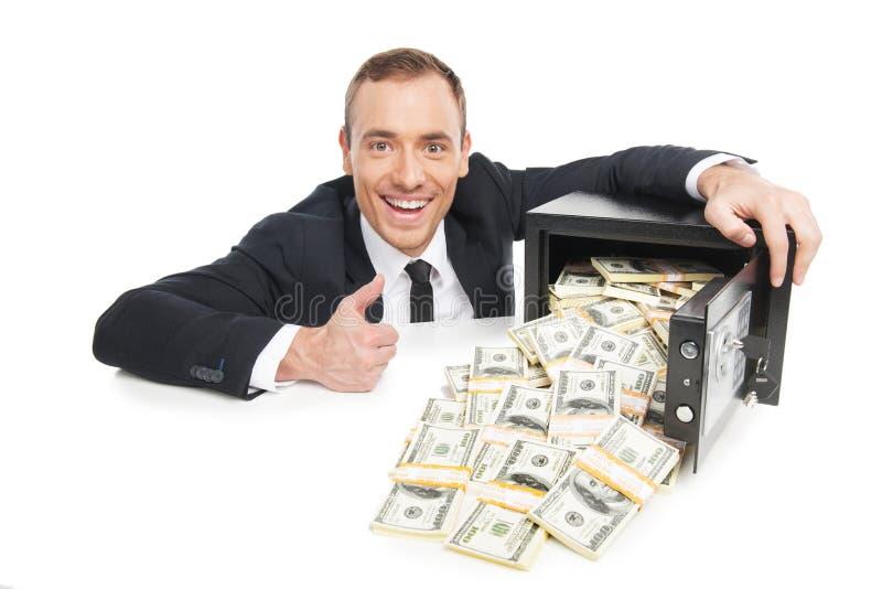 Cofre forte com dinheiro. foto de stock royalty free