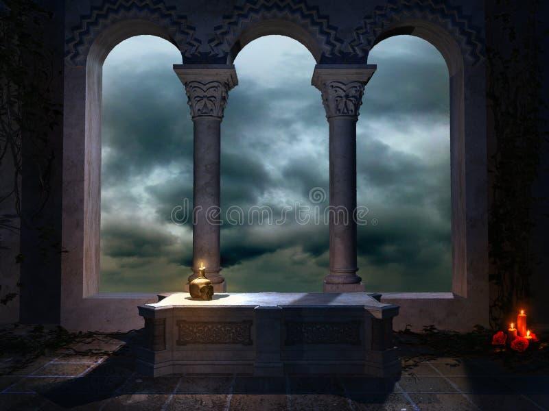 Cofre-forte com uma janela gótico ilustração do vetor