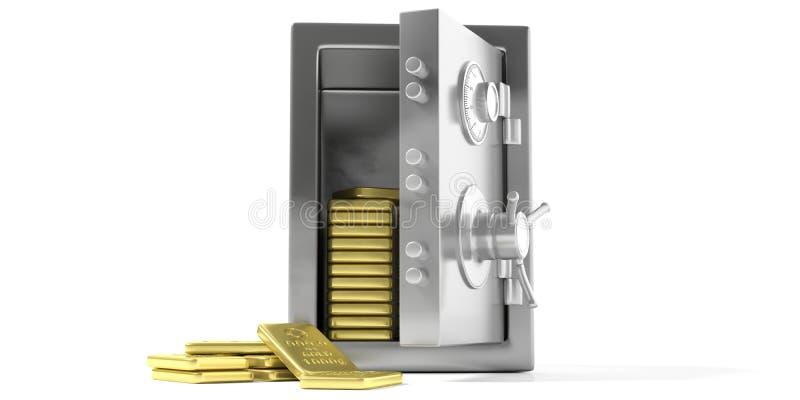 Cofre-forte da segurança com lingote de ouro em um fundo branco ilustração 3D ilustração royalty free