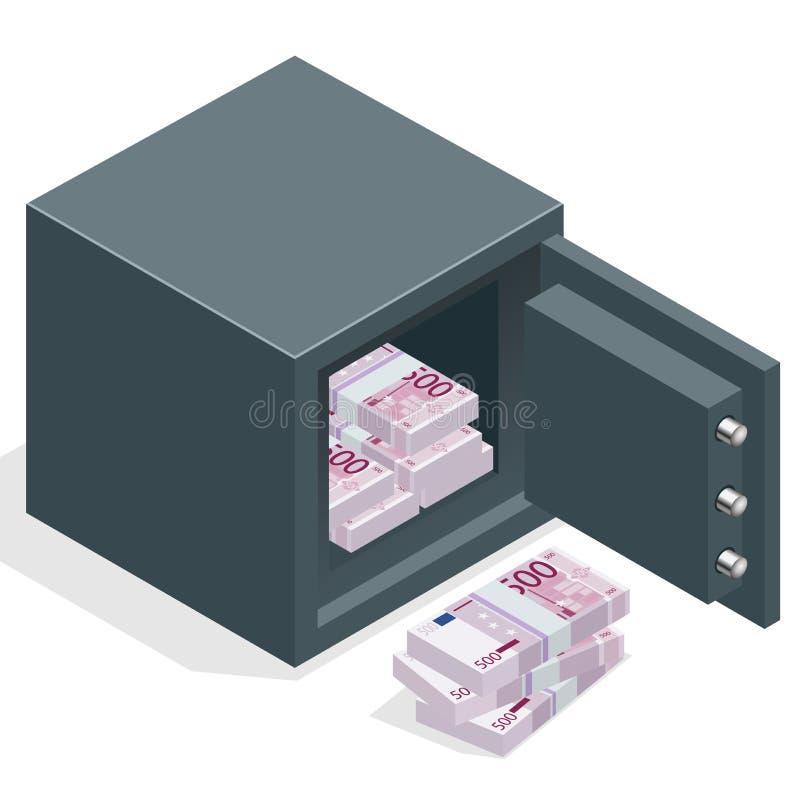 Cofre forte do banco com as euro- pilhas do dinheiro Cofre forte aberto com dinheiro Ilustração isométrica do vetor 3d ilustração royalty free