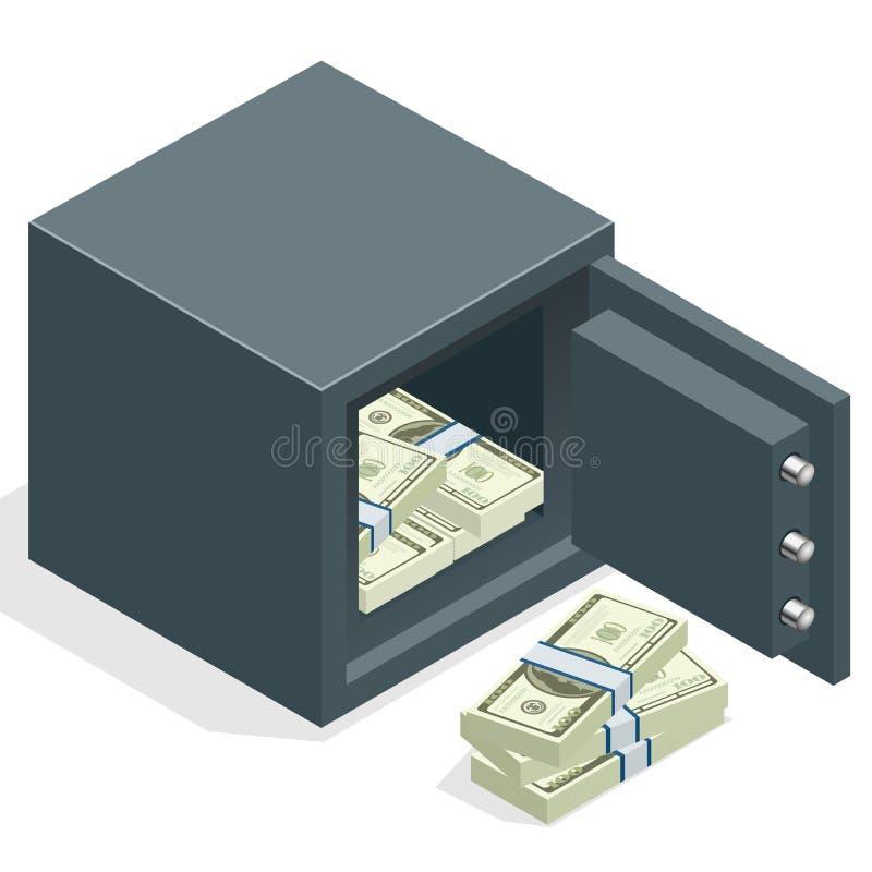 Cofre forte do banco com as pilhas do dólar do dinheiro Cofre forte aberto com dinheiro Ilustração isométrica do vetor 3d ilustração royalty free