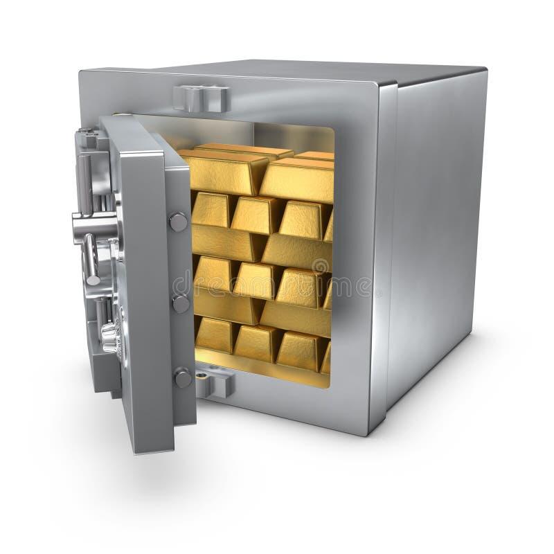 Cofre forte do banco com barras de ouro ilustração royalty free
