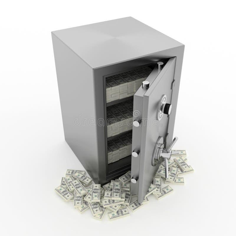 Cofre forte do banco com dinheiro ilustração royalty free