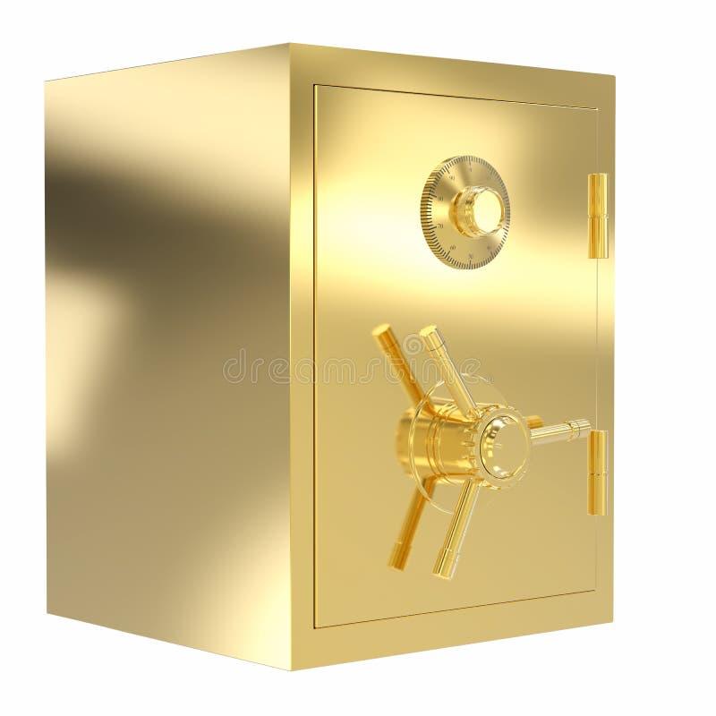 Cofre forte dourado do banco ilustração do vetor