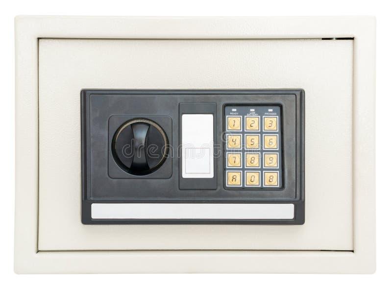 Cofre forte eletrônico fechado no branco fotos de stock royalty free