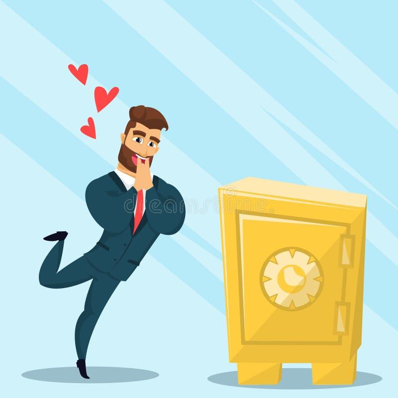 Cofre forte farpado do amor do homem de negócios do divertimento ilustração stock