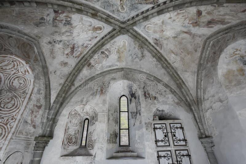 Cofre-forte gótico, estrutura interior no castelo de Chillon - Veytaux, Suíça fotografia de stock