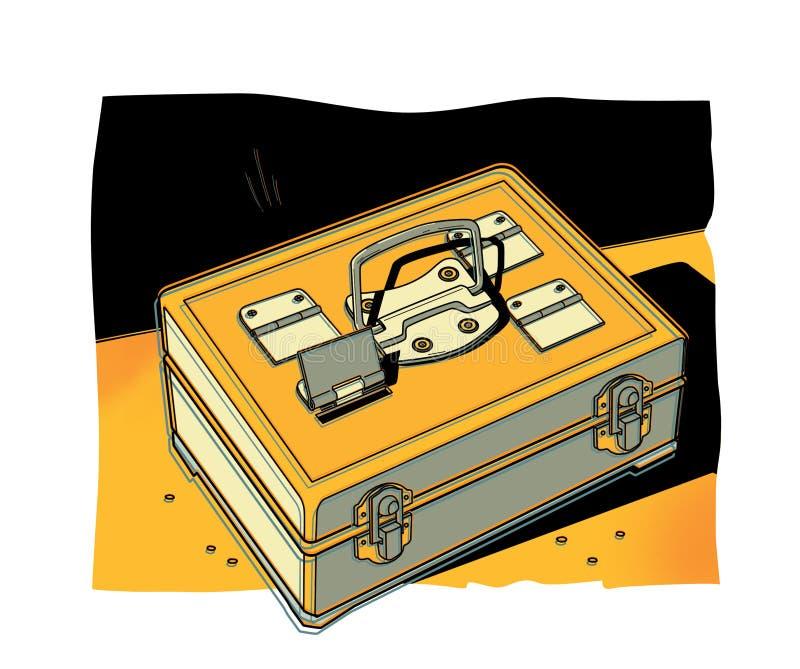 Cofre forte portátil do metal com 4 compartimentos Fundo de parte do intervalo ilustração stock