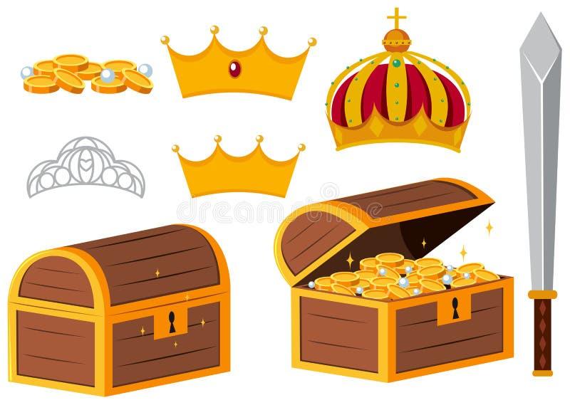 Cofres del tesoro y coronas de oro ilustración del vector