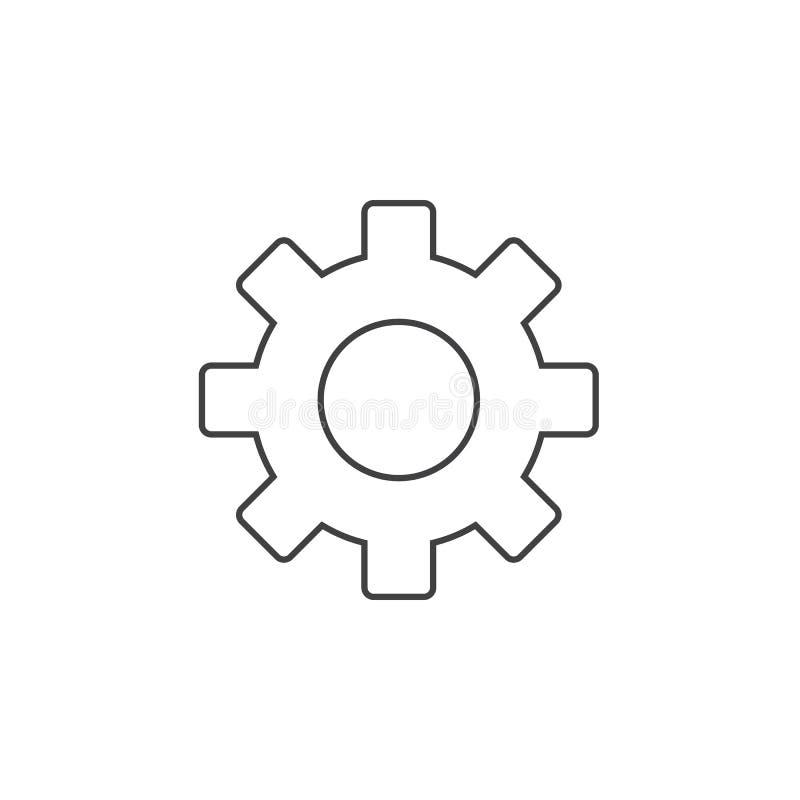 Cog cienka kreskowa ikona, położenia zarysowywa wektorową logo ilustrację, g ilustracji