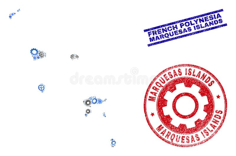 Cog Collage Vector Marquesas Islands Map and Grunge Seals vector illustration