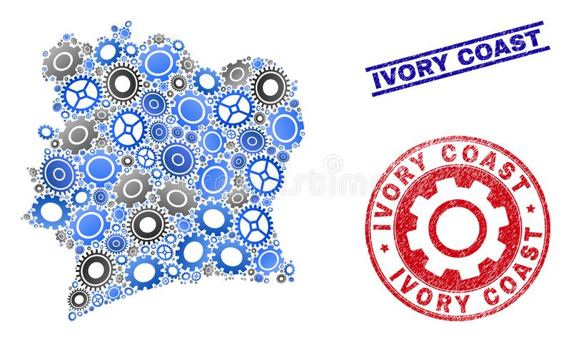Cog Composition Vector Ivory Coast Map and Grunge Stamps vector illustration