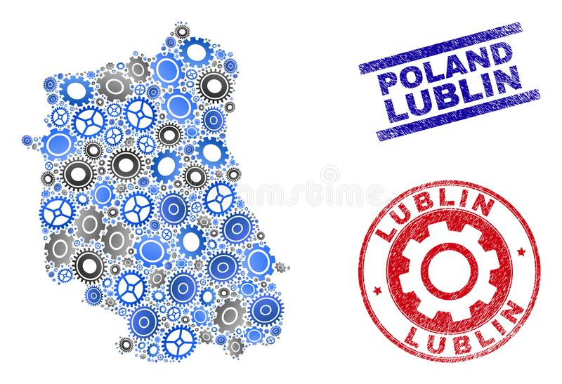 Cog Composition Vector Lublin Voivodeship Map and Grunge Stamps vector illustration
