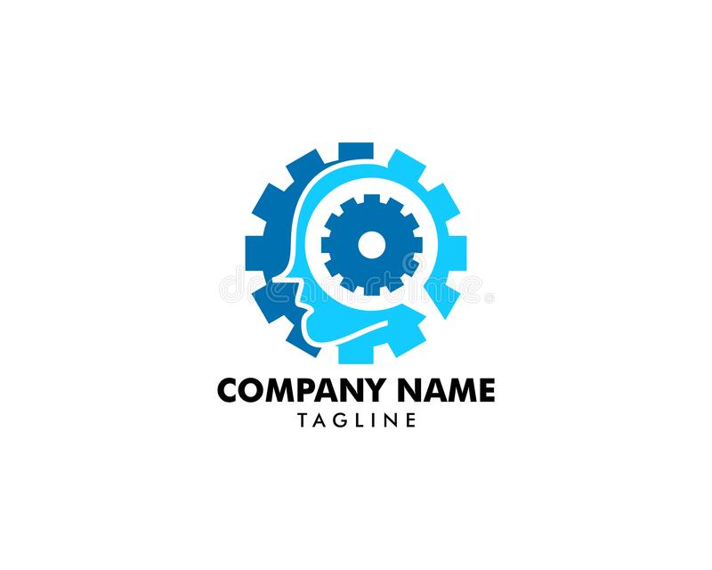 Cog gear mind head logo icon vector illustration