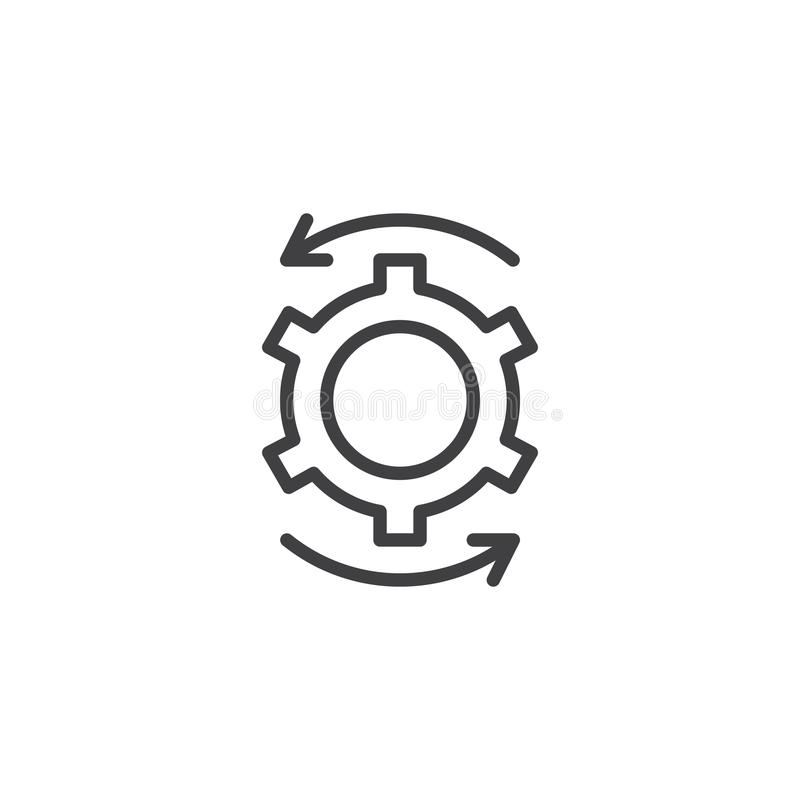 Cog gear and rotation arrows outline icon royalty free illustration