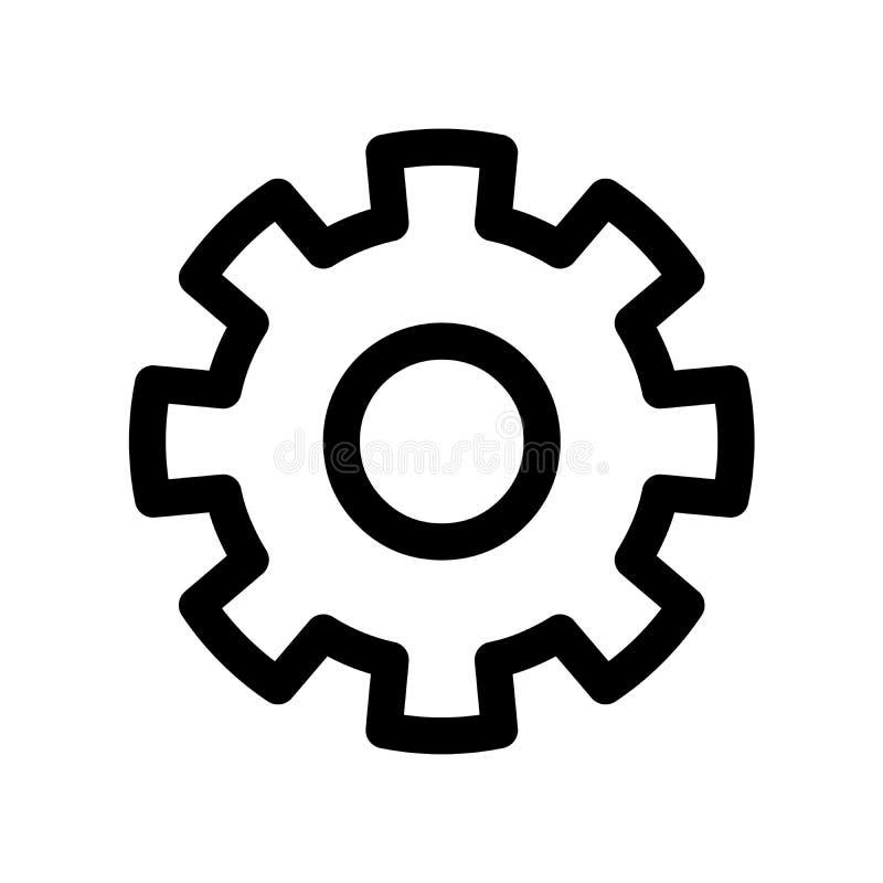 Cog koła ikona Symbol położenia lub przekładnia Konturu nowożytnego projekta element Prosty czarny płaski wektoru znak z zaokrągl royalty ilustracja