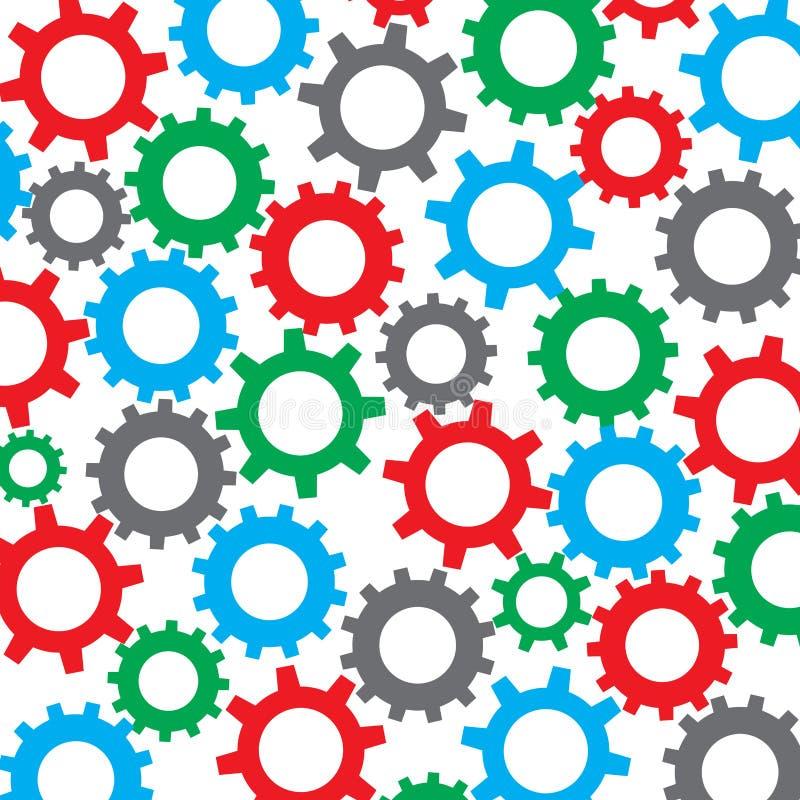 Cog koła koloru bezszwowy wzór ilustracja wektor