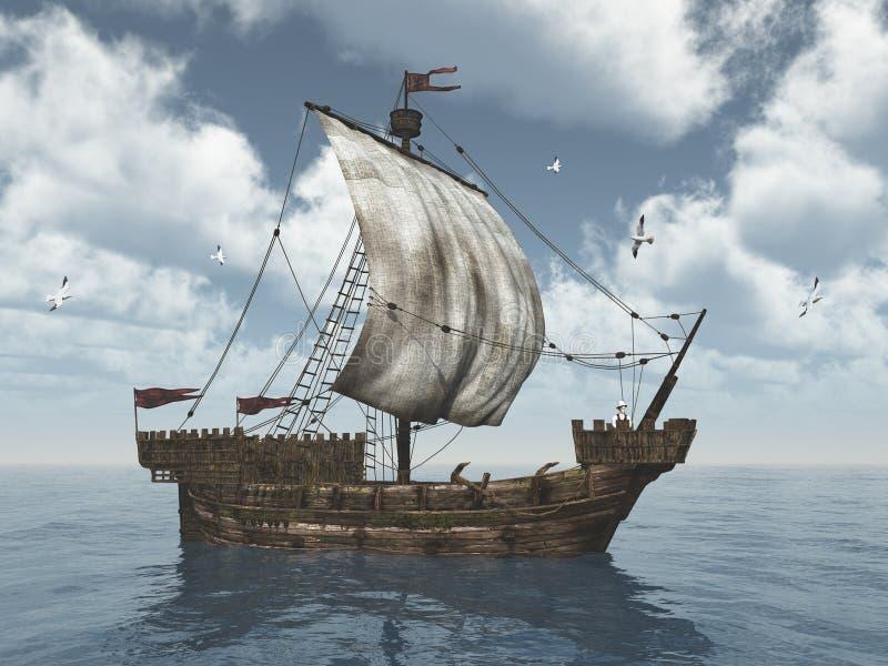 Cog ship. Computer generated 3D illustration with a cog ship vector illustration