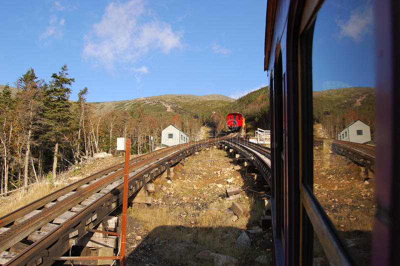 Cog trains in White Mountain stock image