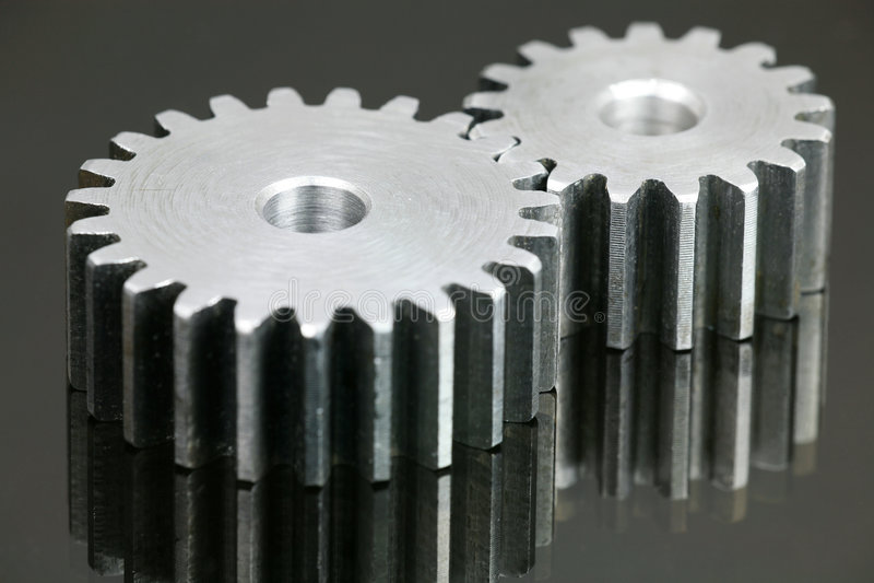 Cog-wheel. Set of Cog-wheel Isolated on Black royalty free stock photo