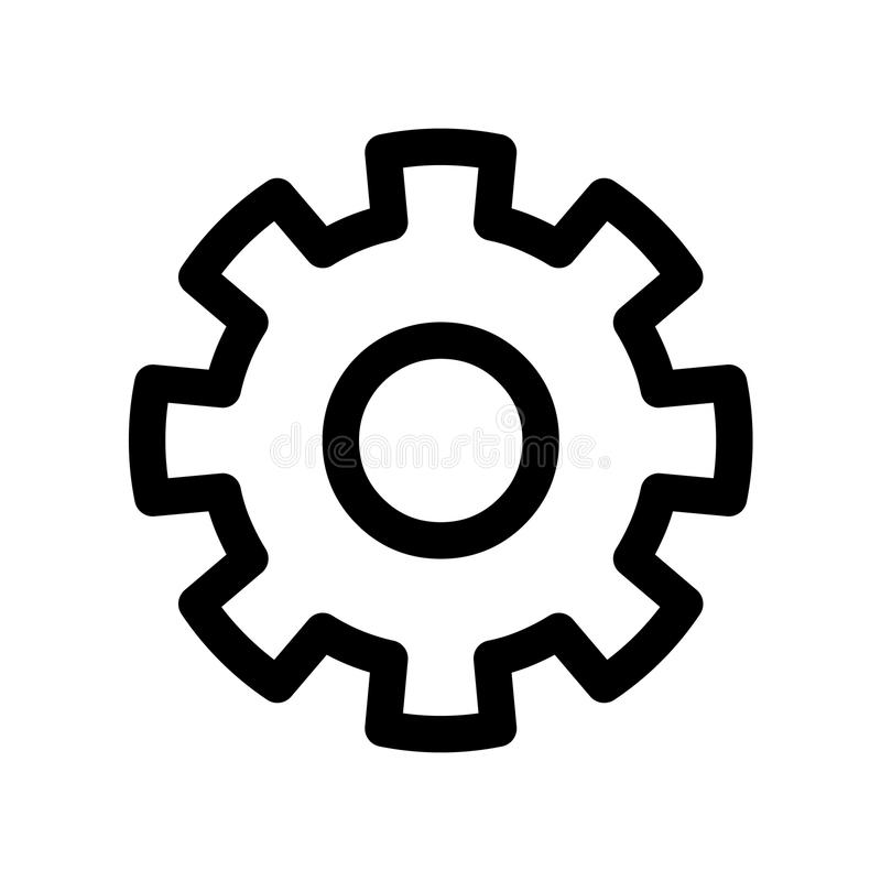 Cog wheel icon. Symbol of settings or gear. Outline modern design element. Simple black flat vector sign with rounded royalty free illustration