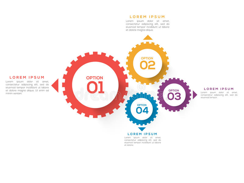 Cog wheel infographics for Business. Creative colorful cog wheel infographics on white background for your Business vector illustration