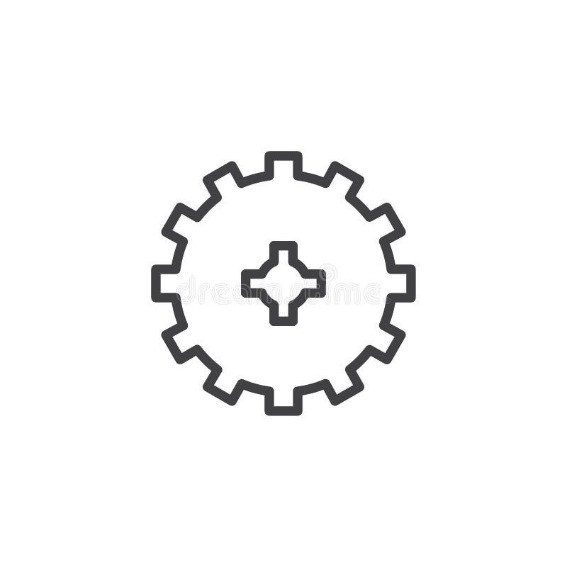 Cog wheel outline icon royalty free illustration