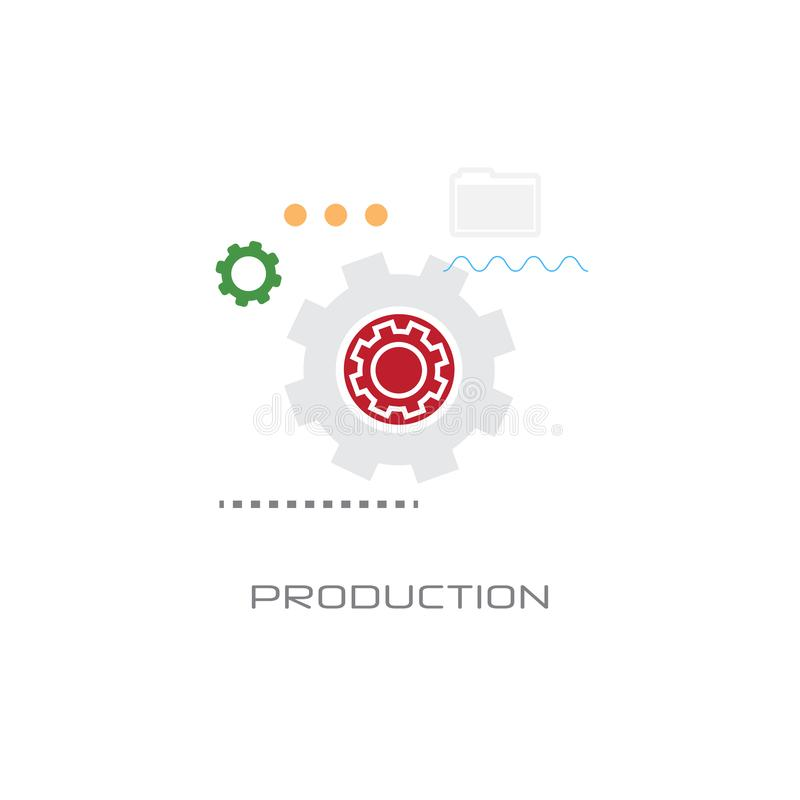 Cog wheel production business industry process concept flat style isolated. Vector illustration vector illustration